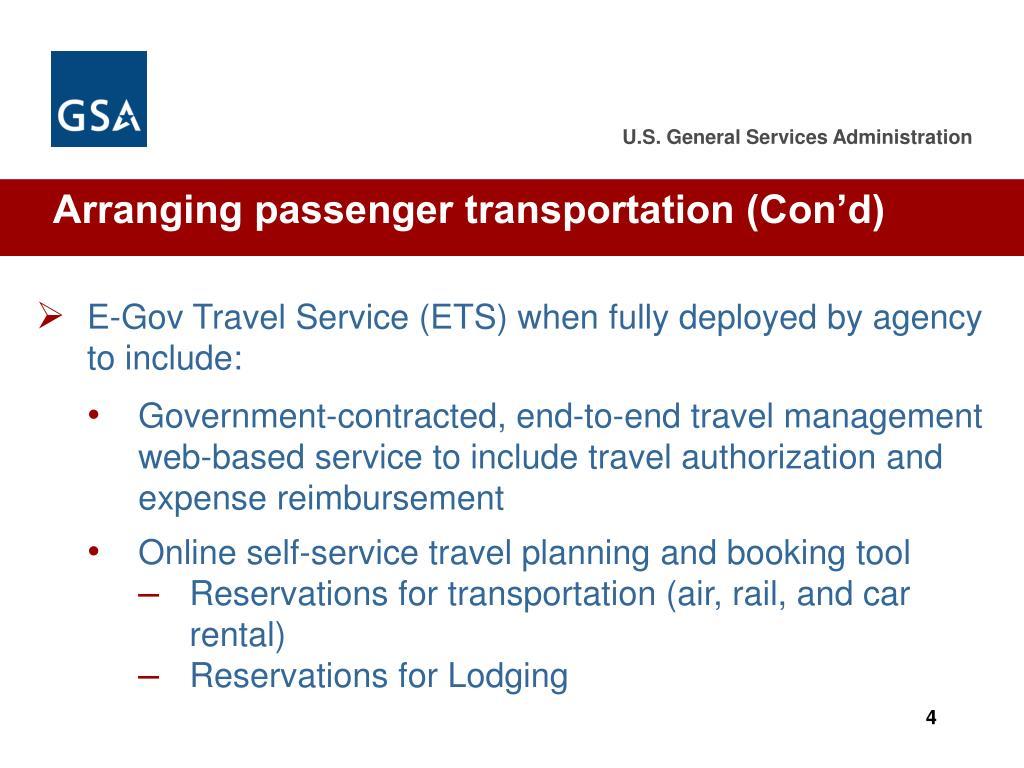 Arranging passenger transportation (Con'd)