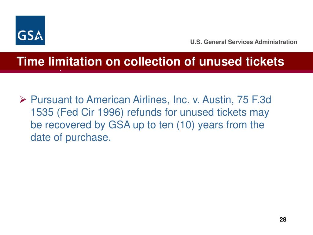 Time limitation on collection of unused tickets