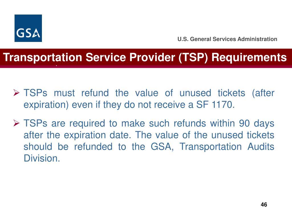 Transportation Service Provider (TSP) Requirements