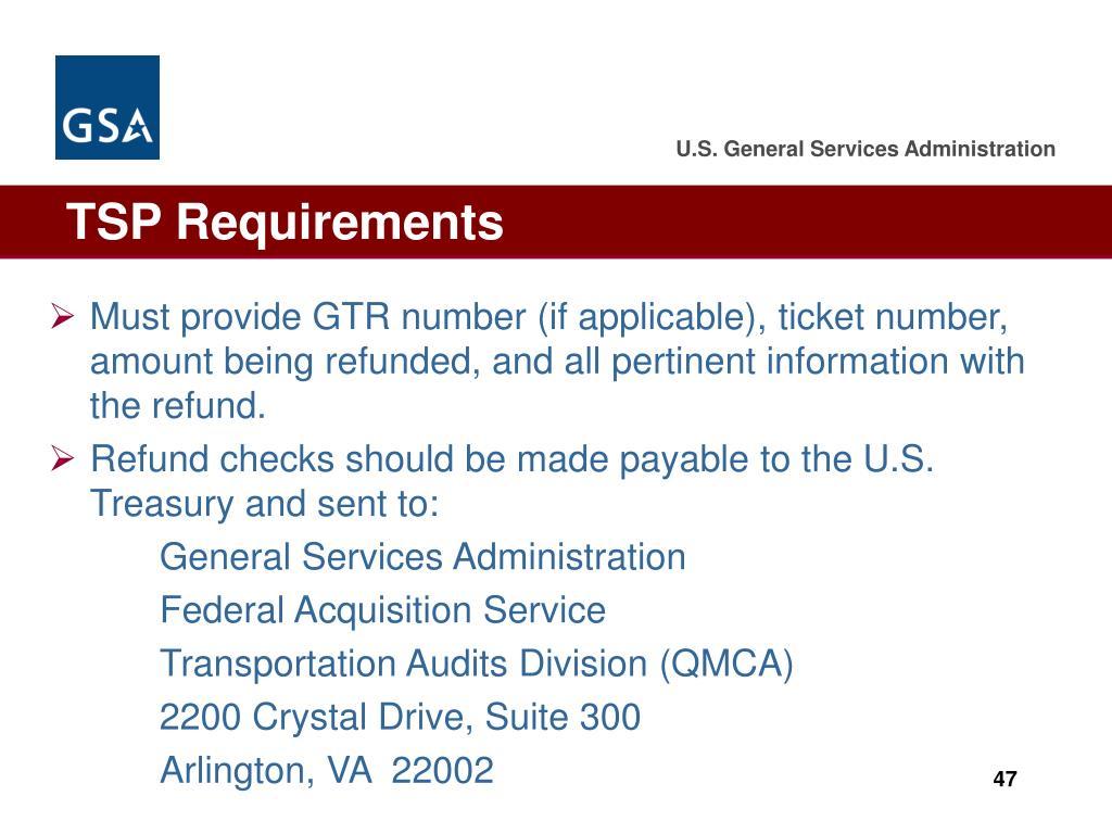 TSP Requirements