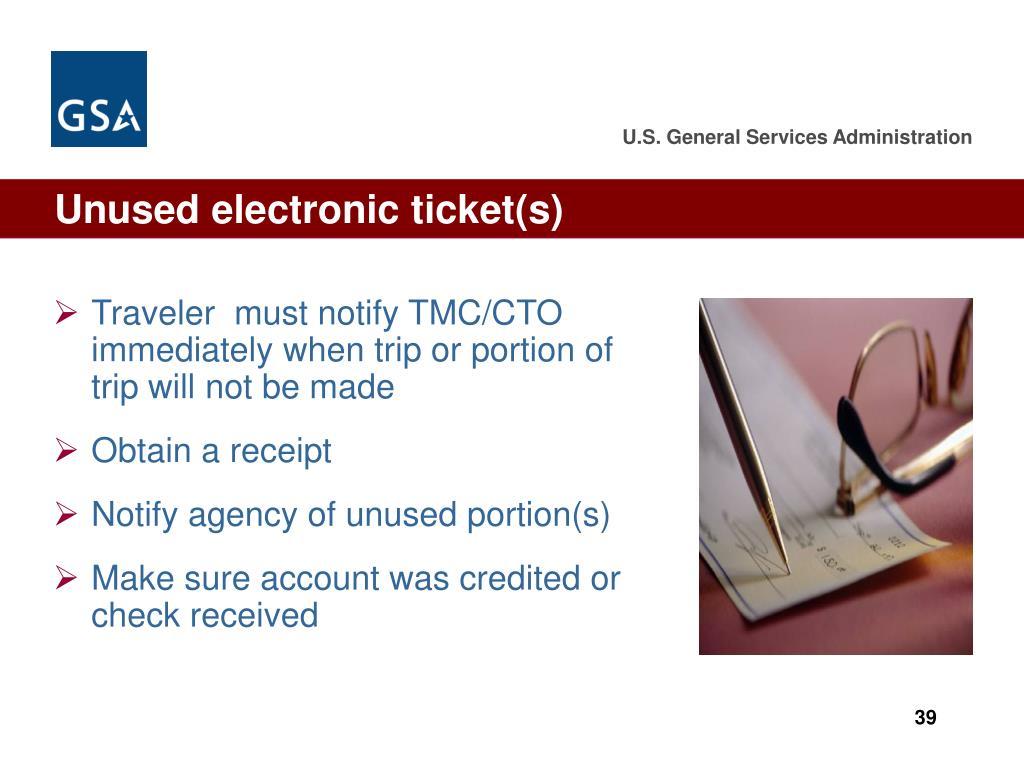Unused electronic ticket(s)