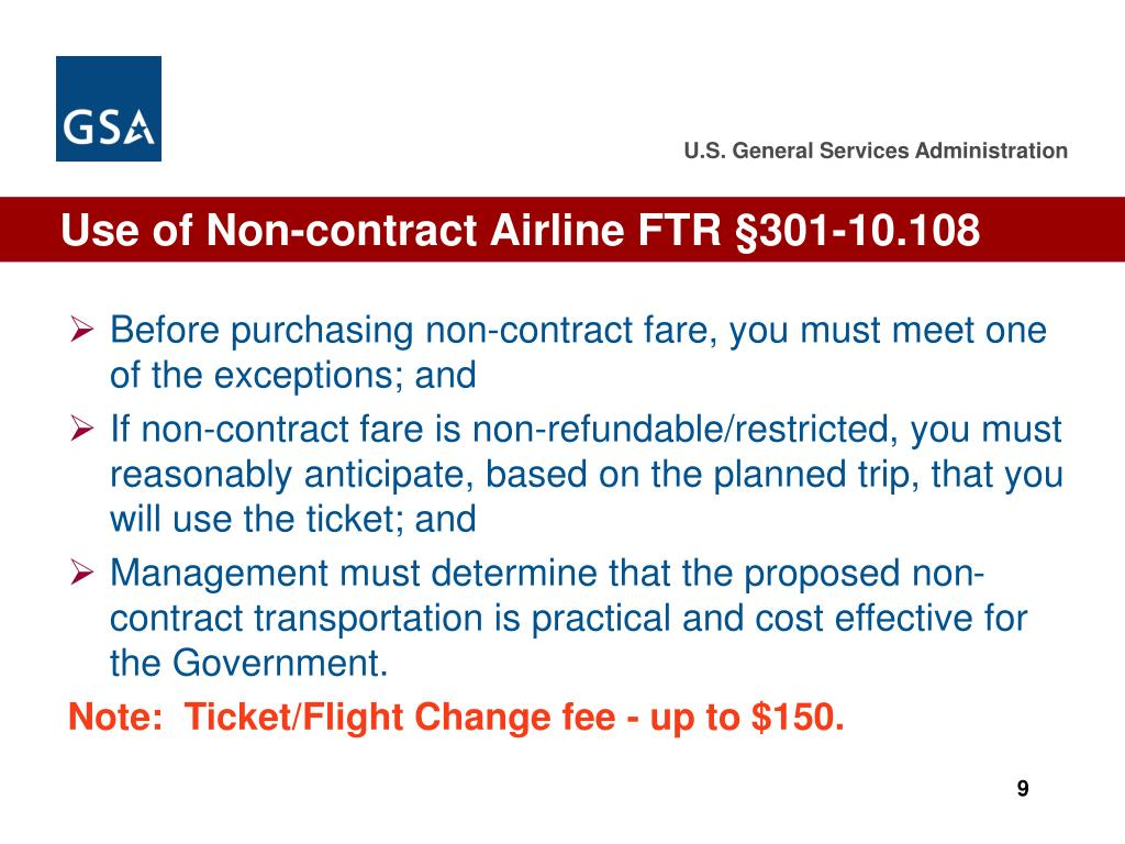 Use of Non-contract Airline FTR §301-10.108