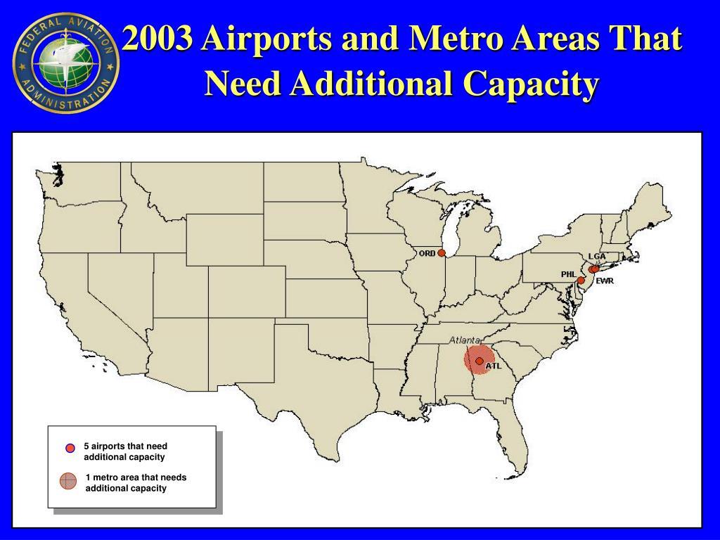 1 metro area that needs additional capacity