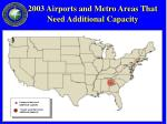 2003 airports and metro areas that need additional capacity