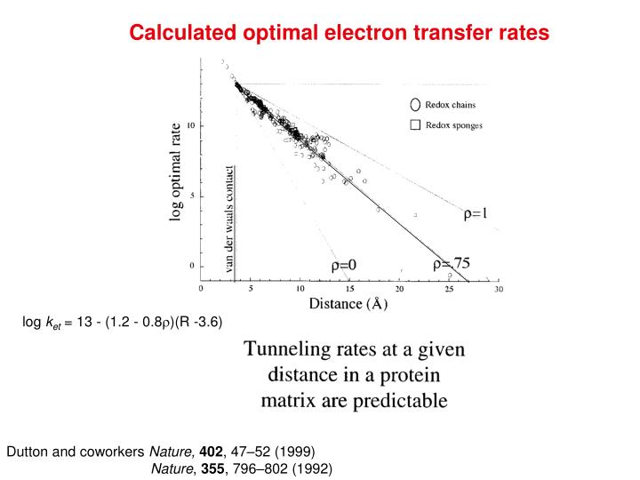 Calculated optimal electron transfer rates