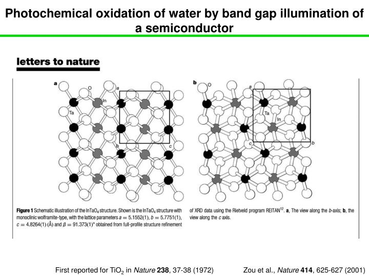 Photochemical oxidation of water by band gap illumination of a semiconductor