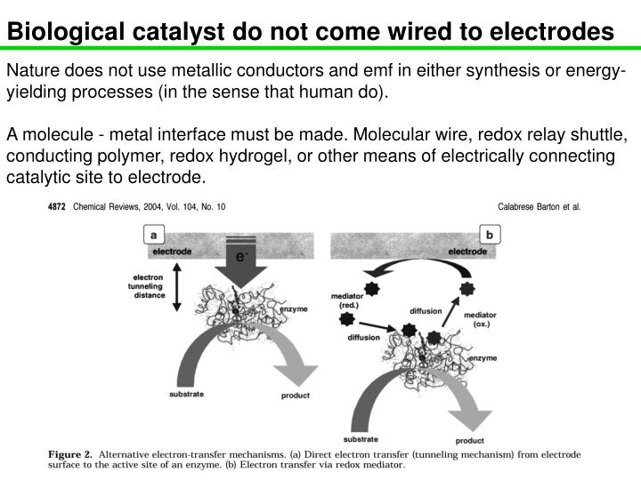 Biological catalyst do not come wired to electrodes