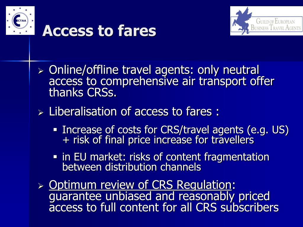 Access to fares