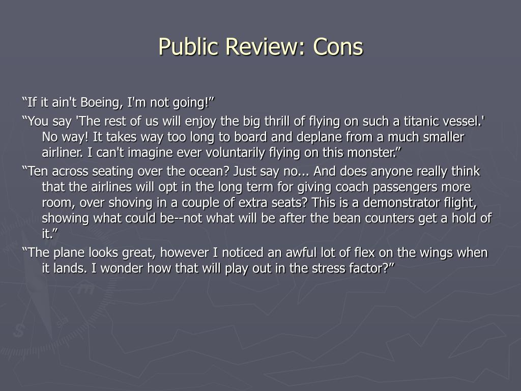Public Review: Cons