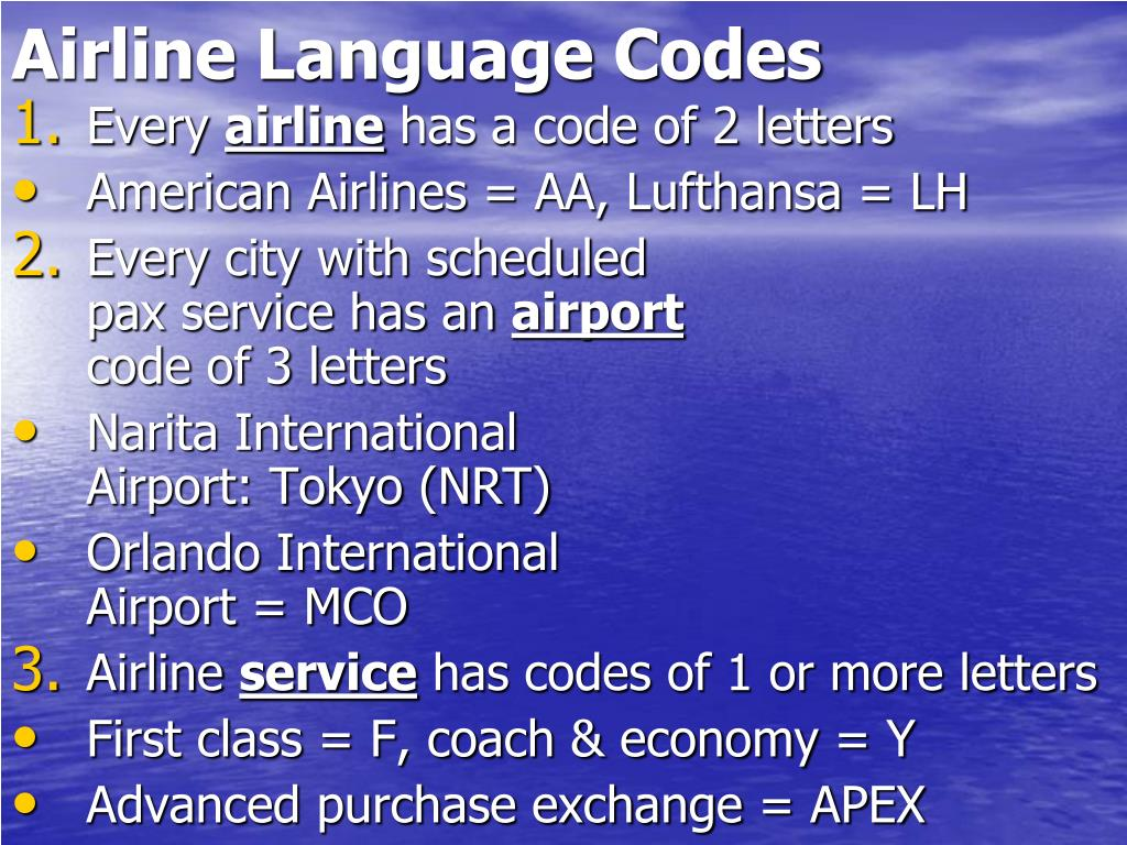 Airline Language Codes