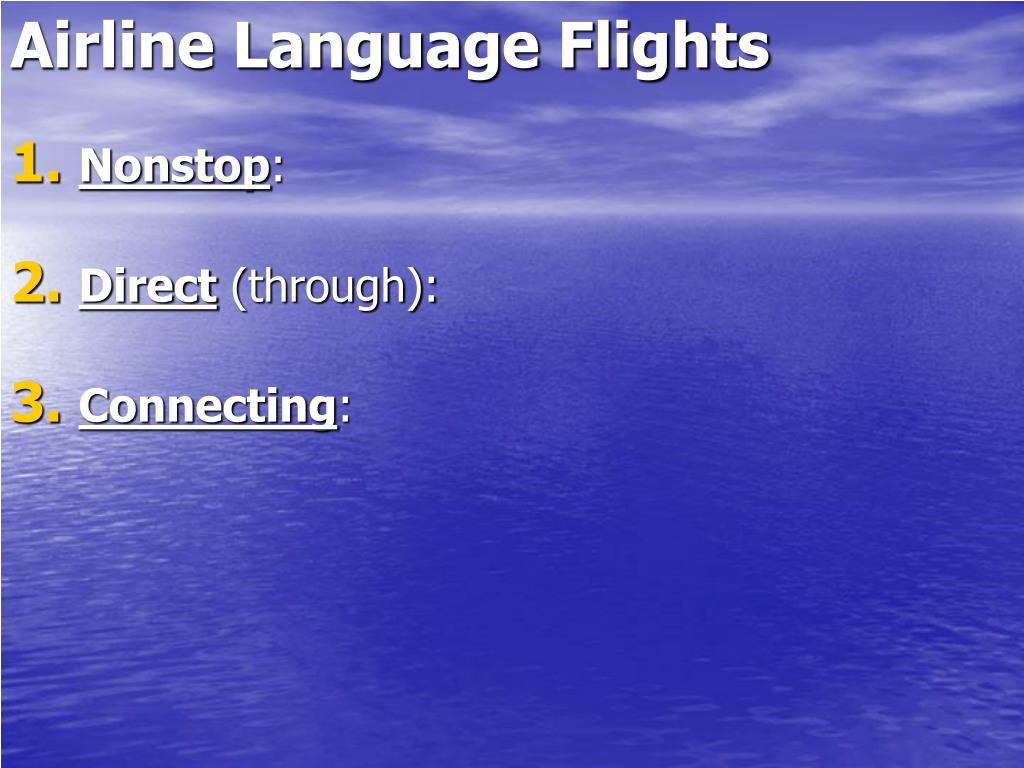 Airline Language Flights