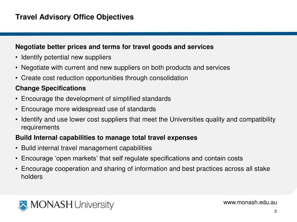 Travel Advisory Office Objectives