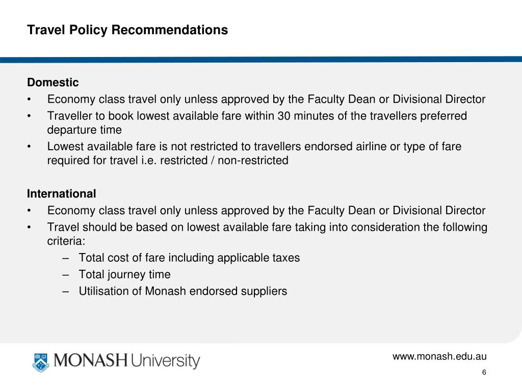 Travel Policy Recommendations