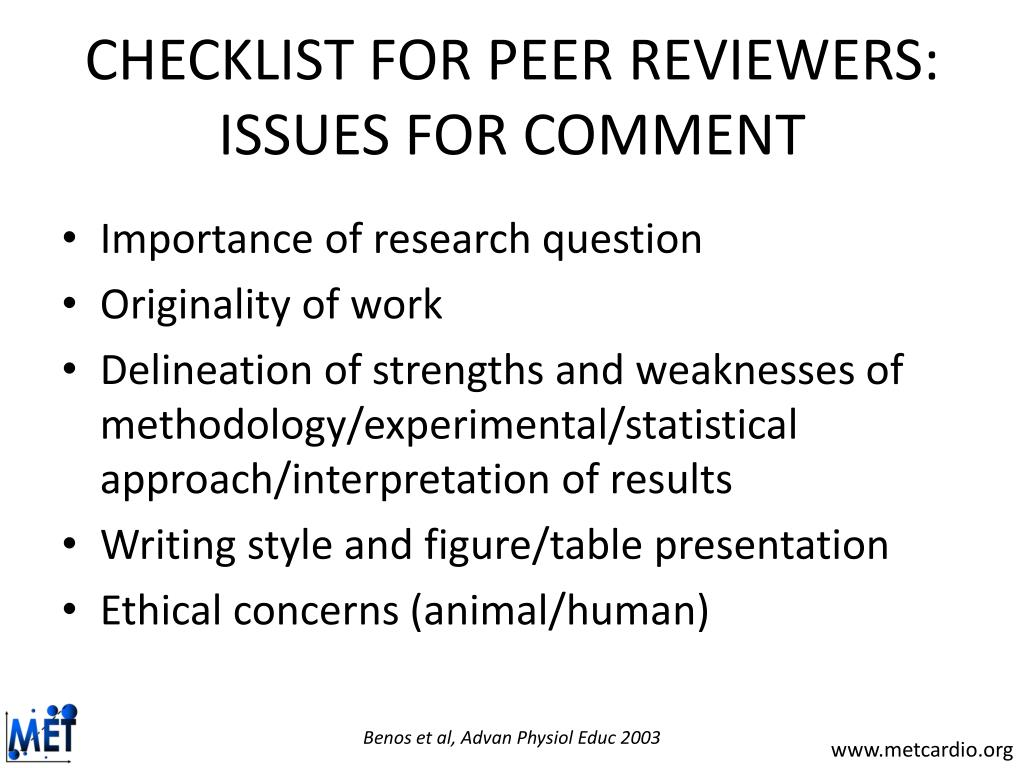CHECKLIST FOR PEER REVIEWERS: ISSUES FOR COMMENT