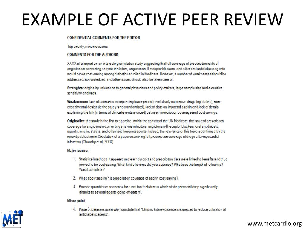 EXAMPLE OF ACTIVE PEER REVIEW