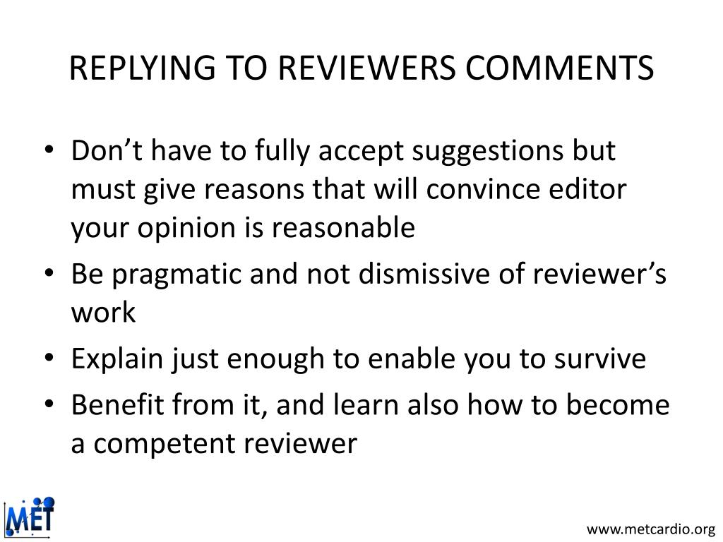 REPLYING TO REVIEWERS COMMENTS