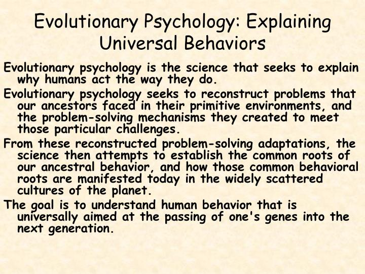 Evolutionary Psychology: Explaining Universal Behaviors