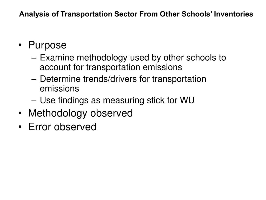 Analysis of Transportation Sector From Other Schools' Inventories