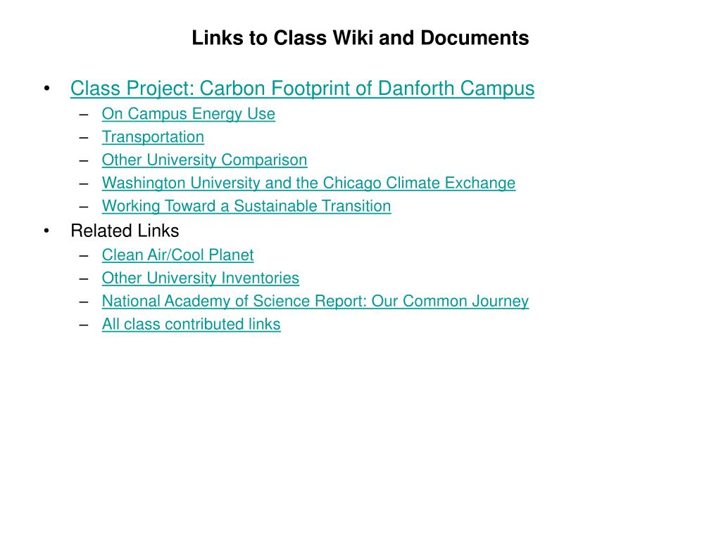 Links to Class Wiki and Documents