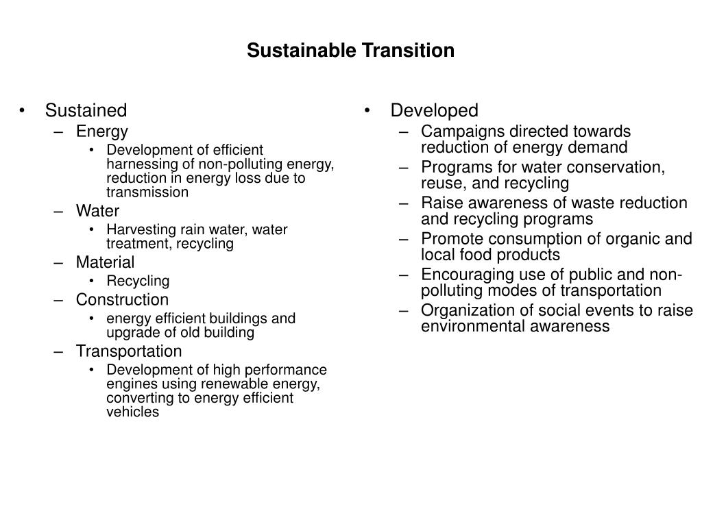 Sustainable Transition