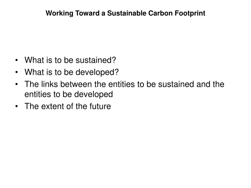 Working Toward a Sustainable Carbon Footprint