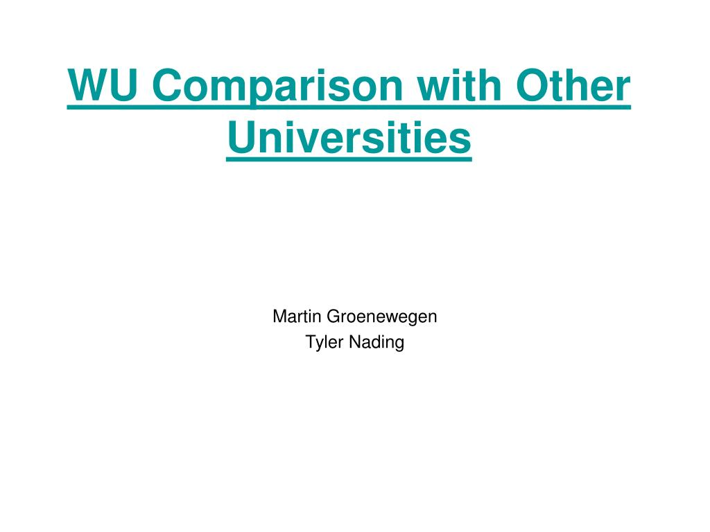 WU Comparison with Other Universities
