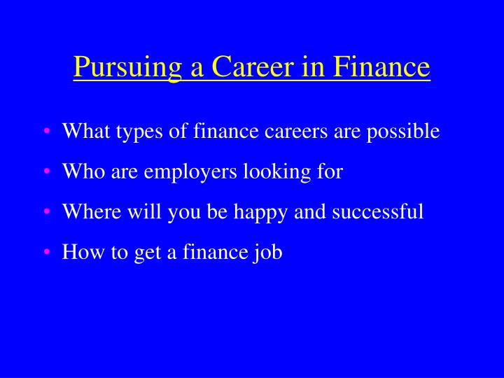 Pursuing a career in finance2