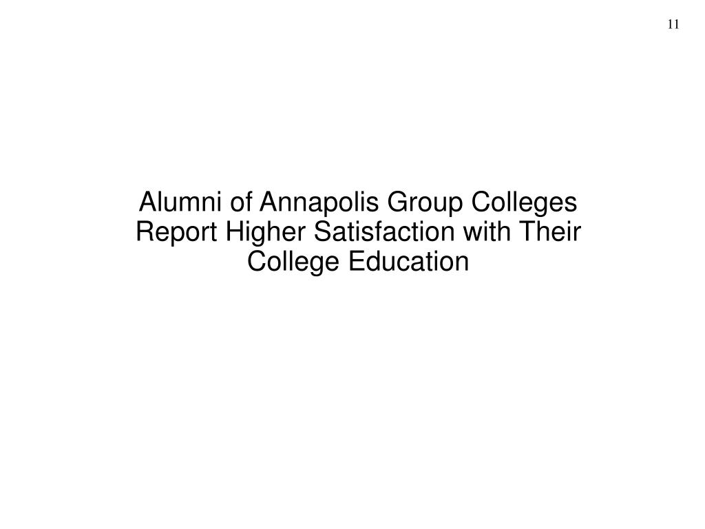 Alumni of Annapolis Group Colleges Report