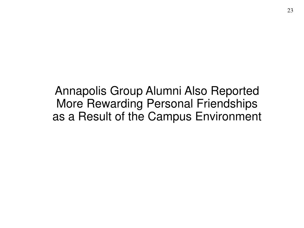 Annapolis Group Alumni Also Reported More Rewarding Personal Friendships as a Result of the Campus Environment