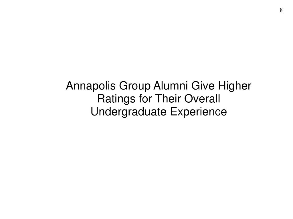 Annapolis Group Alumni Give Higher Ratings for Their Overall Undergraduate Experience