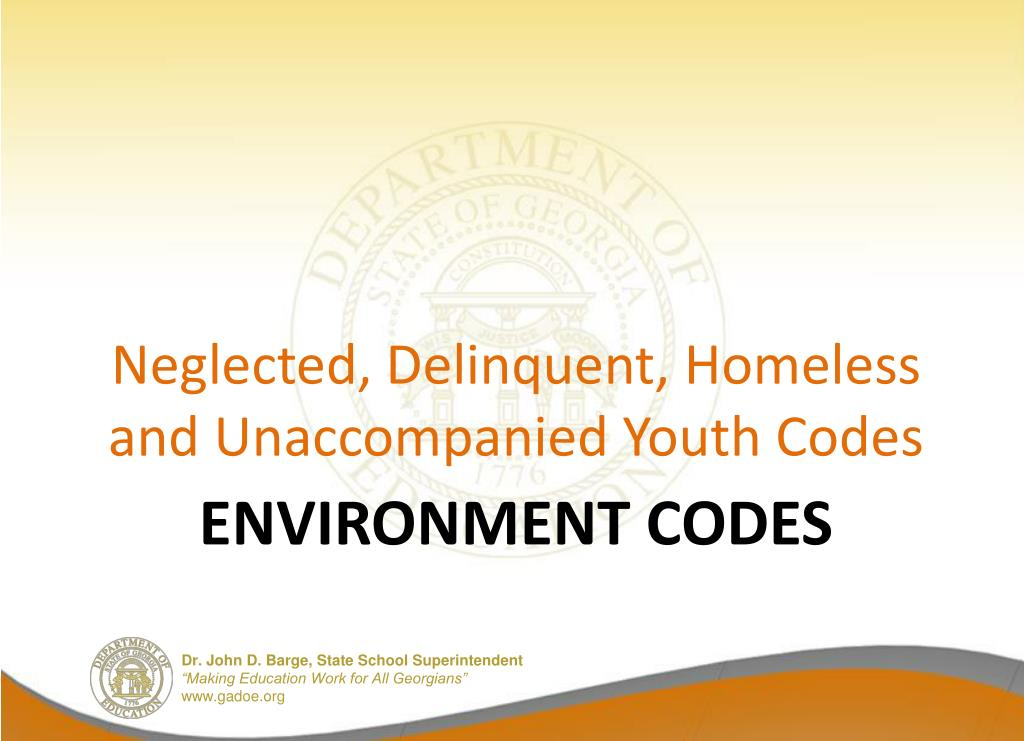 Neglected, Delinquent, Homeless and Unaccompanied Youth Codes