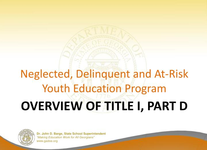 Overview of title i part d