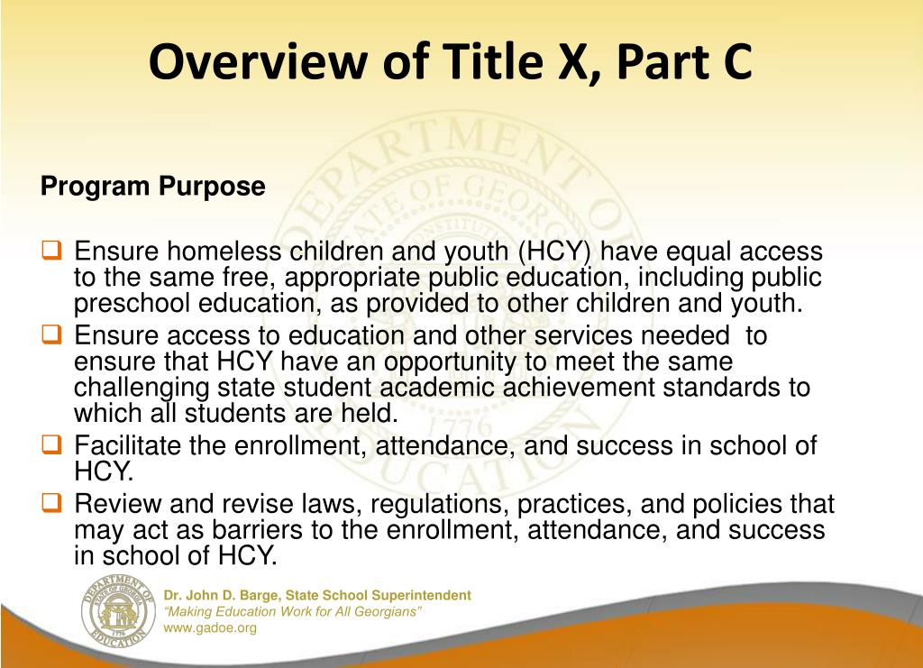 Overview of Title X, Part C