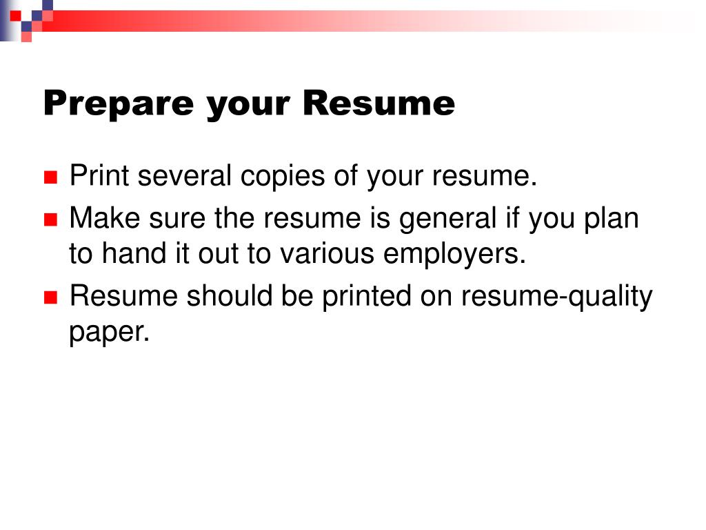 Prepare your Resume
