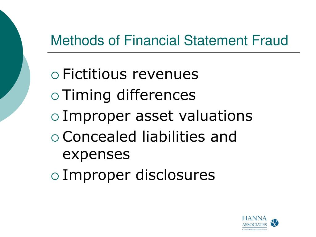 Methods of Financial Statement Fraud