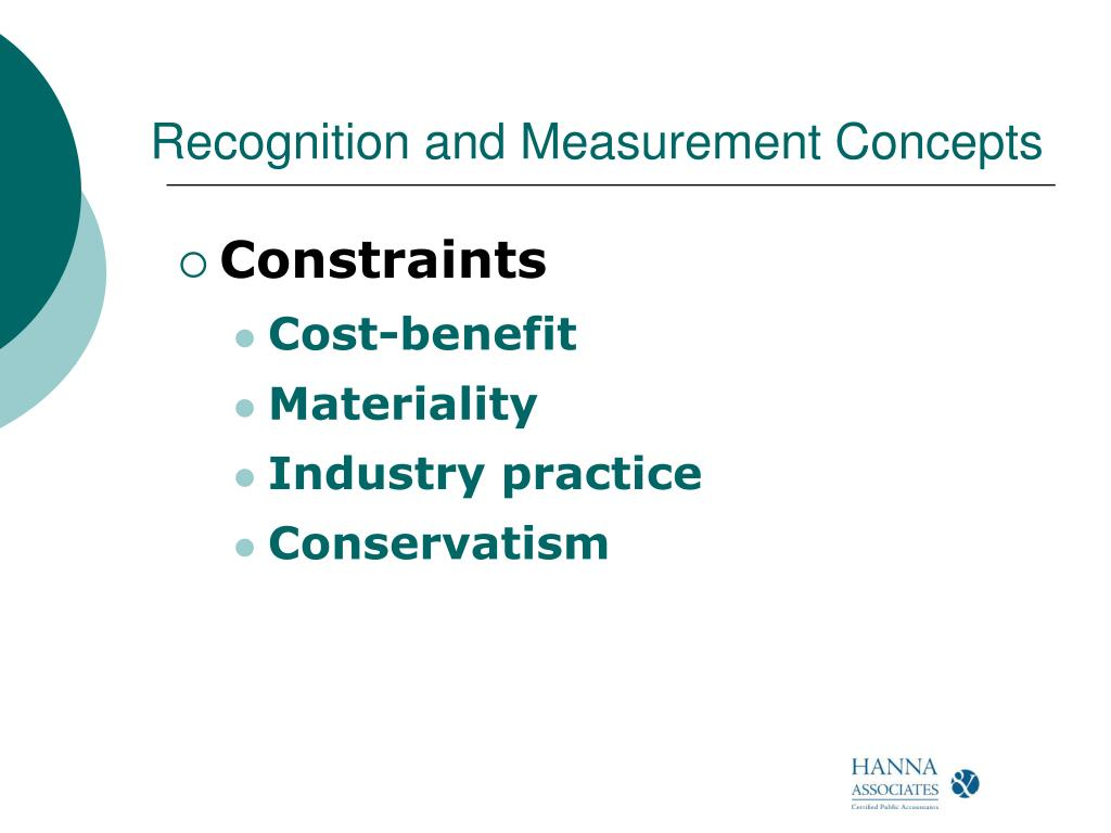 Recognition and Measurement Concepts
