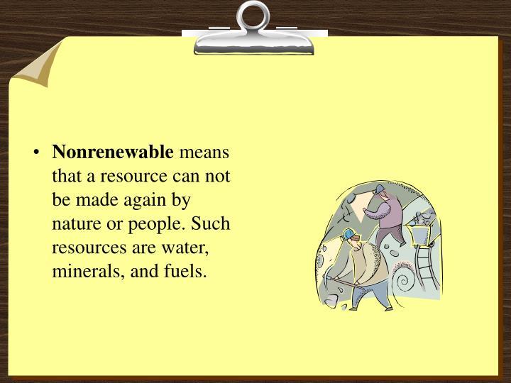 Nonrenewable