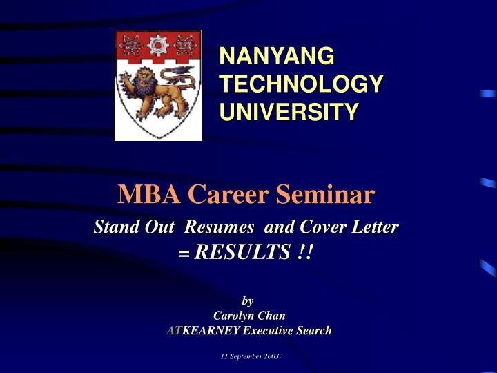 Mba career seminar stand out resumes and cover letter results
