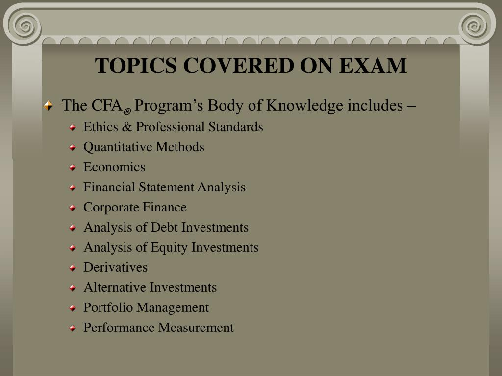 TOPICS COVERED ON EXAM