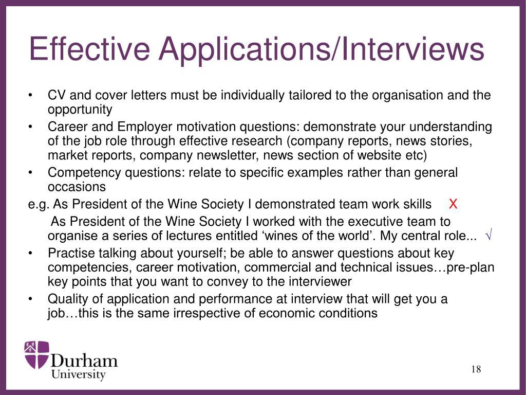 Effective Applications/Interviews