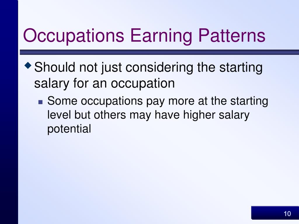 Occupations Earning Patterns