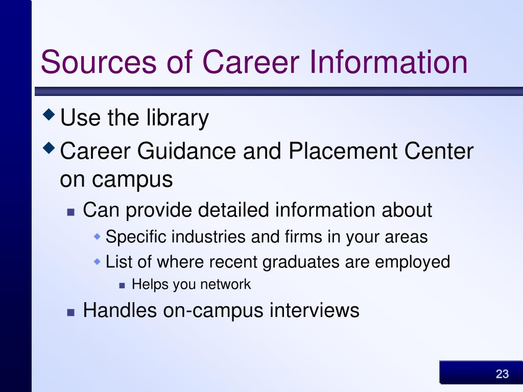 Sources of Career Information