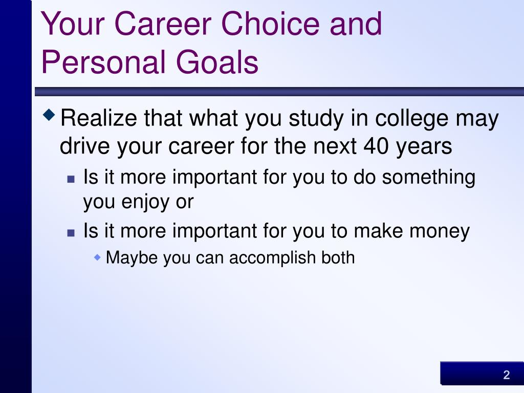 Your Career Choice and Personal Goals