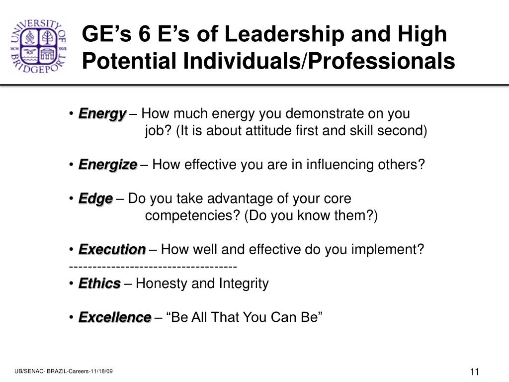 GE's 6 E's of Leadership and High Potential Individuals/Professionals