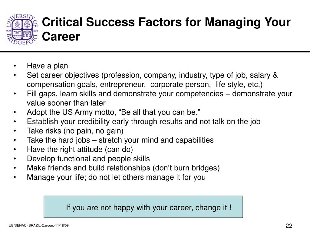 Critical Success Factors for Managing Your Career