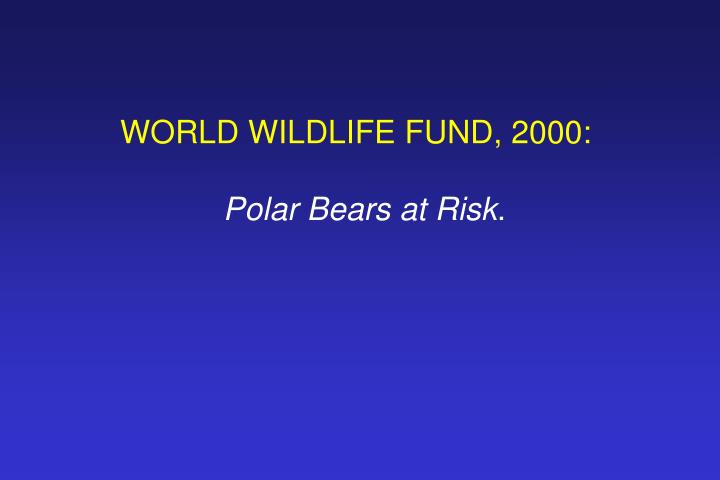 WORLD WILDLIFE FUND, 2000: