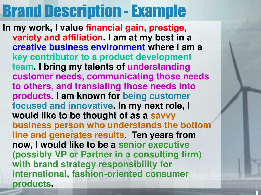 Brand Description - Example