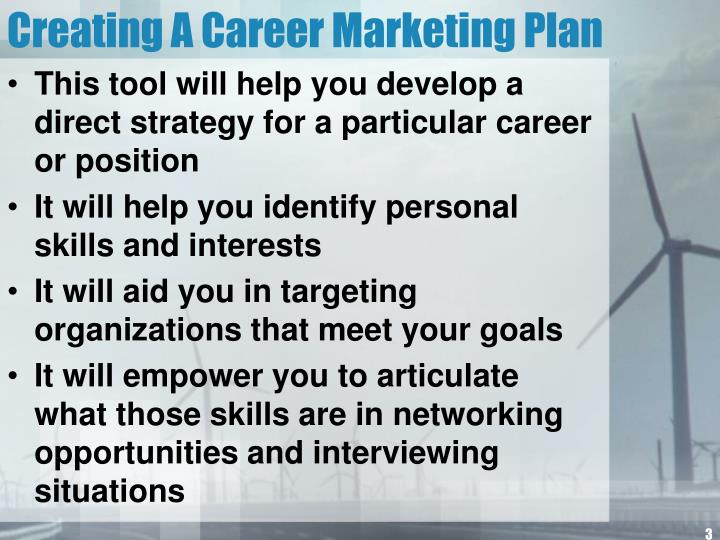 Creating a career marketing plan