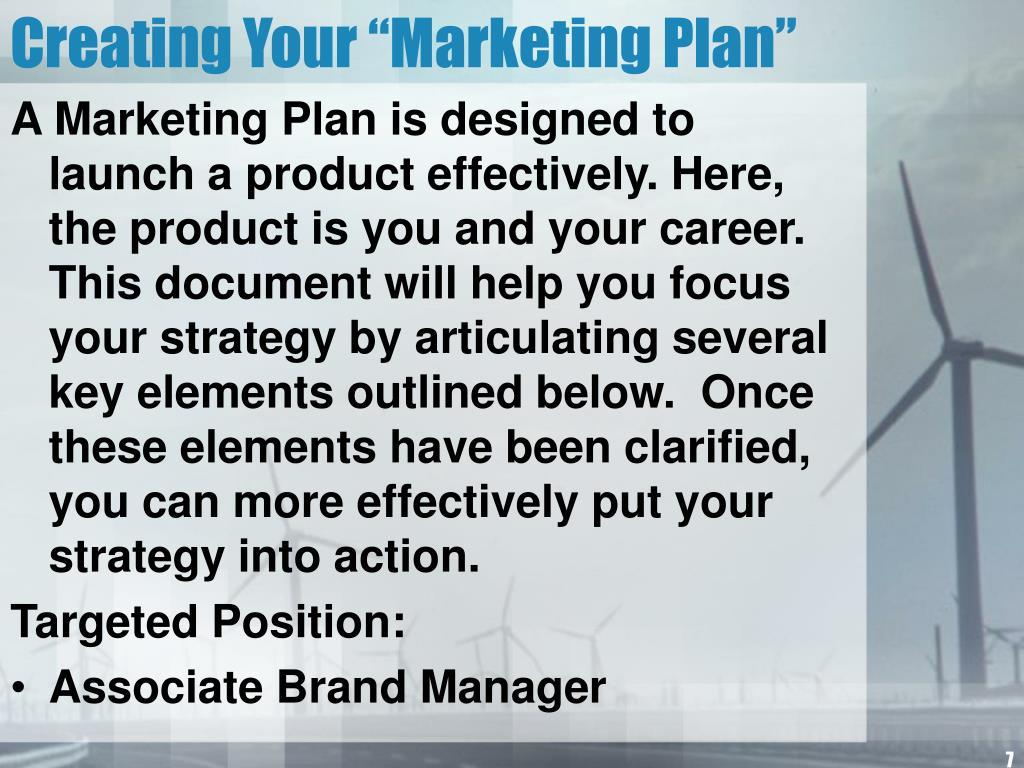 "Creating Your ""Marketing Plan"""