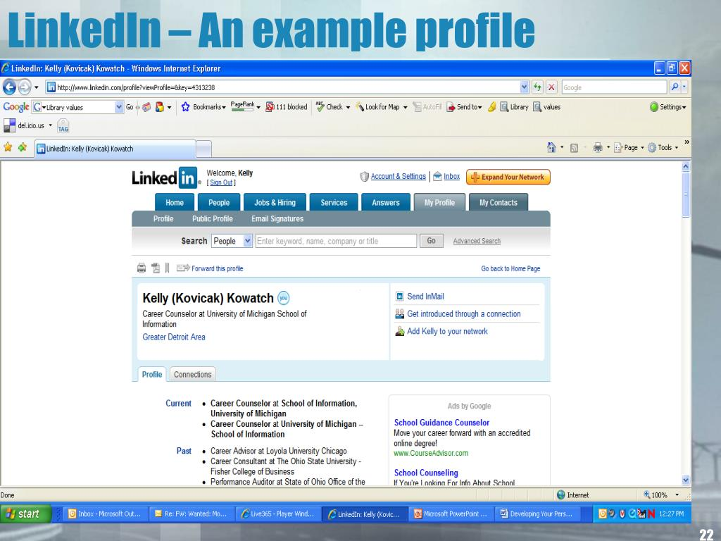 LinkedIn – An example profile